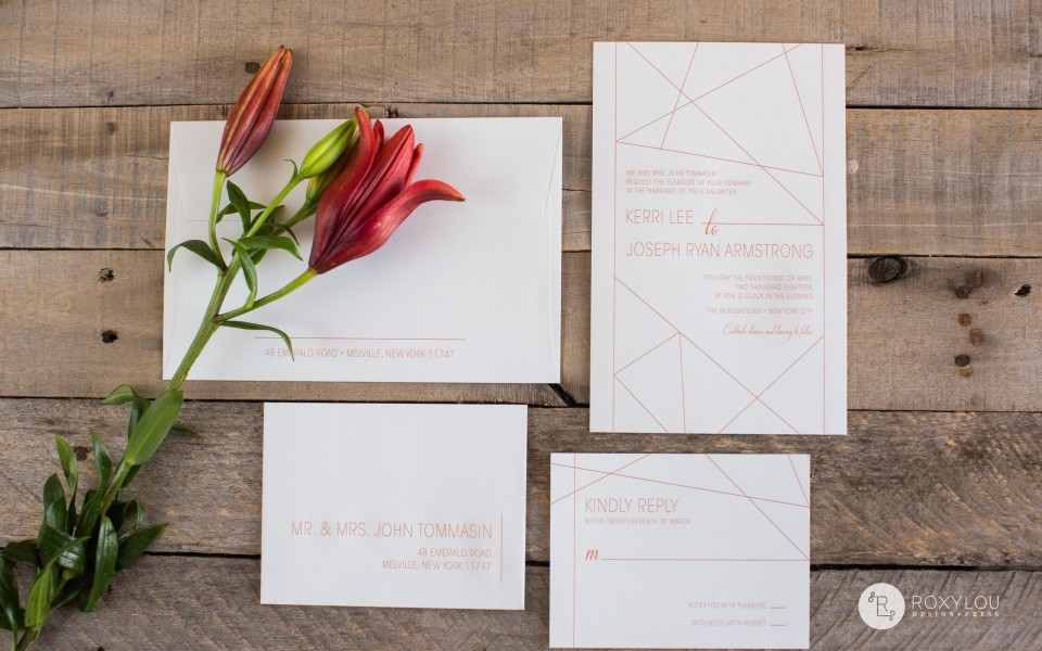 Kerri Invitation Suite from RoxLou Green Collection; geometric lines, contemporary