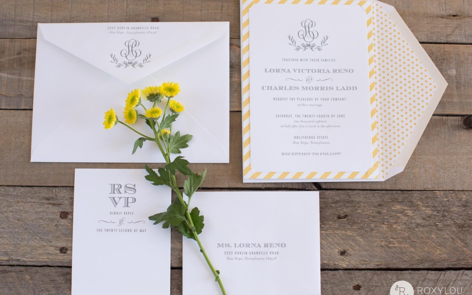 Lorna Invitation Suite from RoxyLou Green Collection: Yellow striped border, yellow polka dot envelope liner, monogram