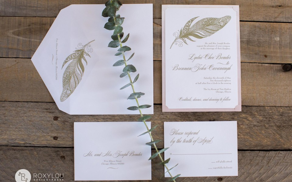 Lydia Wedding Invitation suite from RoxyLou Green Collection: engraved invitation, ornate feather, accent layer