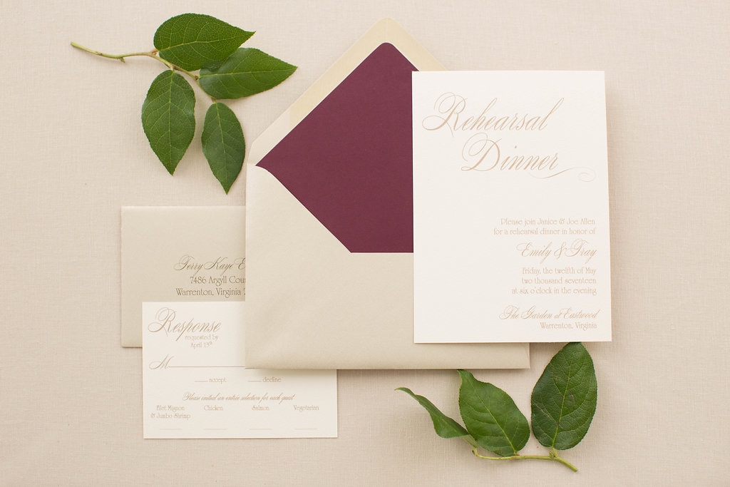 Flat printed rehearsal dinner invitation with burgundy envelope liner.