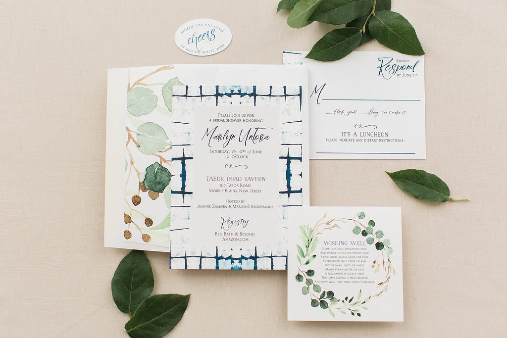 Shibori and Greenery Shower Invitaiton