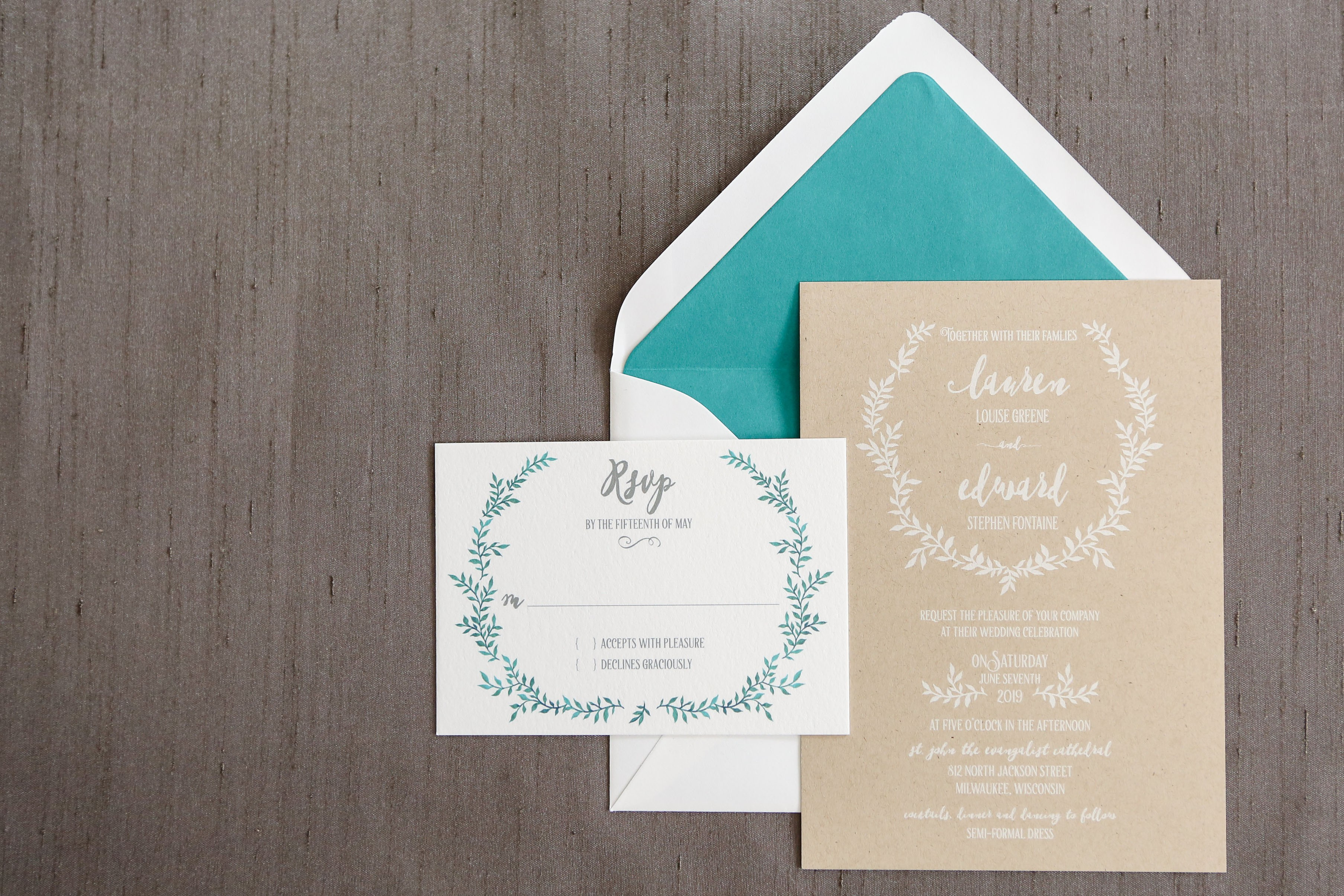"White ink on kraft paper makes this rustic invitation a true standout!  A lined envelope in your choice of color adds the perfect ""pop"""