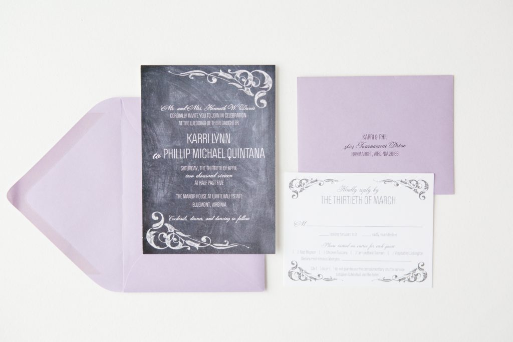 chalboard background, white lettering, lavender envelopes