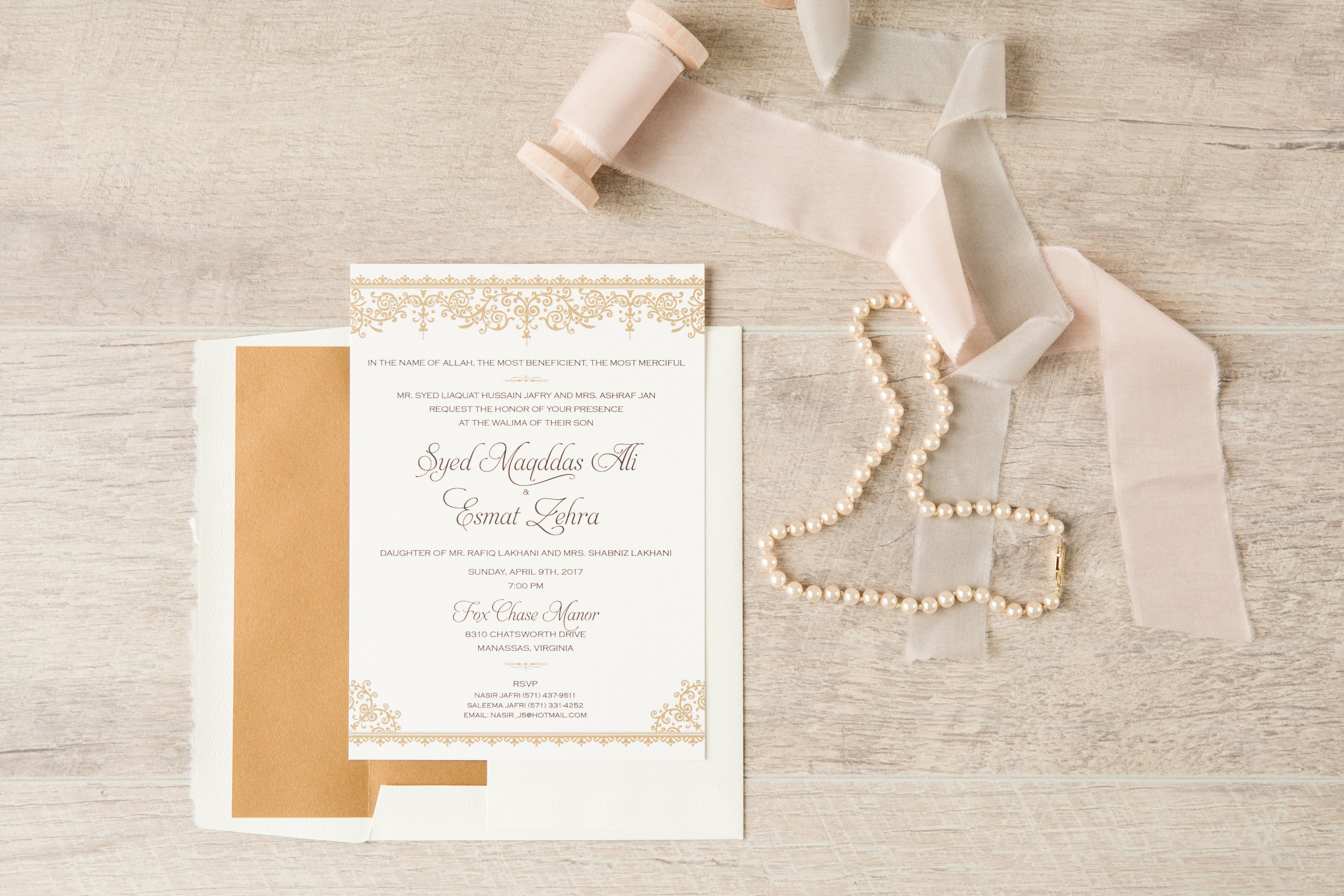 Elegant classic elements, ornate borders, metallic gold envelope liner.  Wedding invitation, walma invitation.