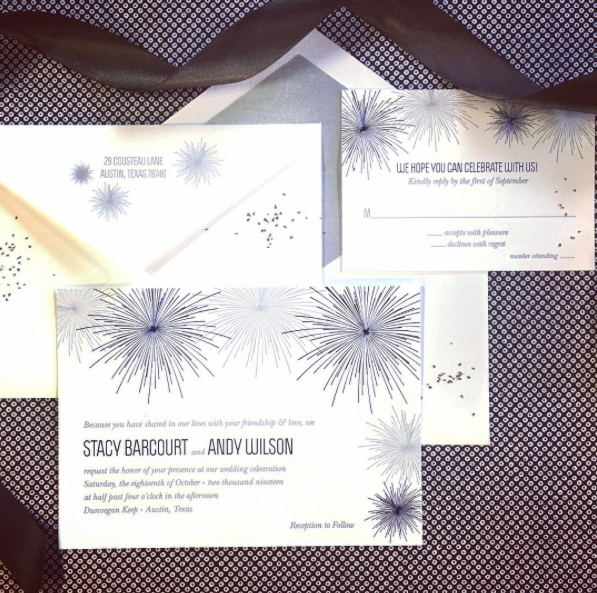 A bold announcement for your big celebration!  Foil and letterpress fireworks adorn this bright and fun wedding invitation.  A metallic silver envelope liner adds the perfect finishing touch.