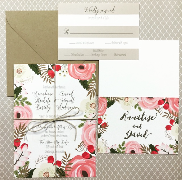 Beautiful floral images fame this lovely wedding invitation suite that is enhanced by subtle wide stripes on the response card, kraft colored envelope, and a knot of twine to hold everything together.