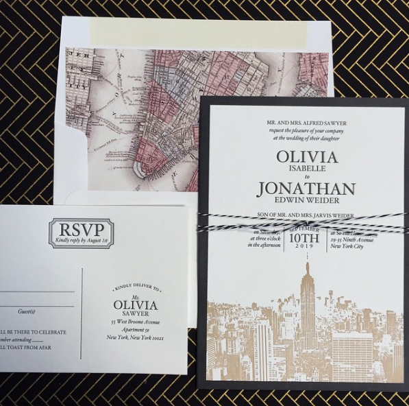 The skyline of your favorite city creates a beautiful backdrop on this contemporary letterpress wedding invitation.  Use a map envelope liner, add a backing layer and an accent of twine, and this invitation is a true masterpiece!