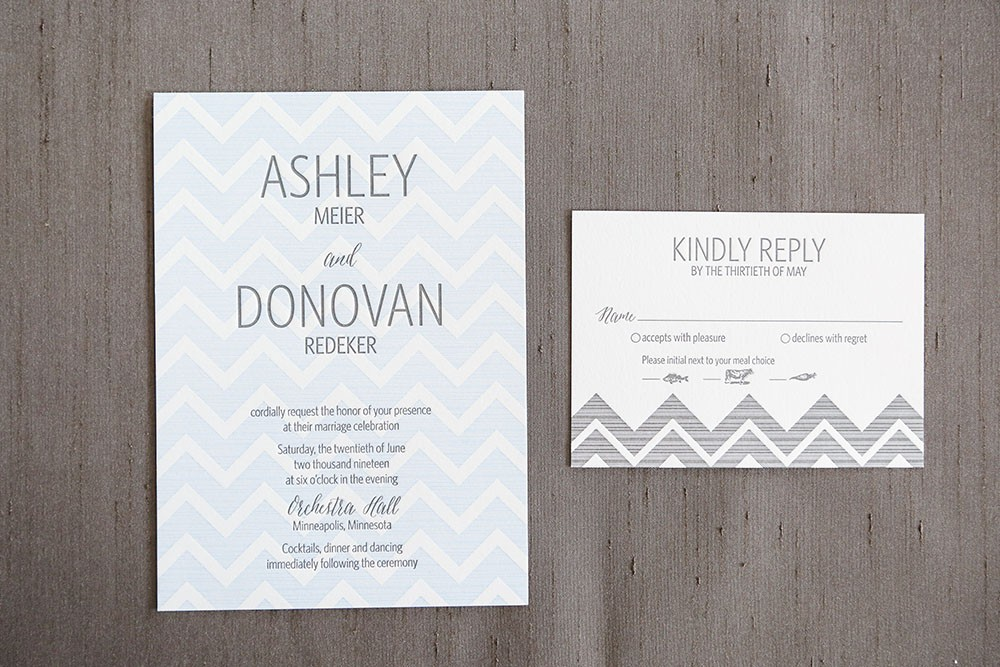 Shafer Letterpress Wedding Invitation