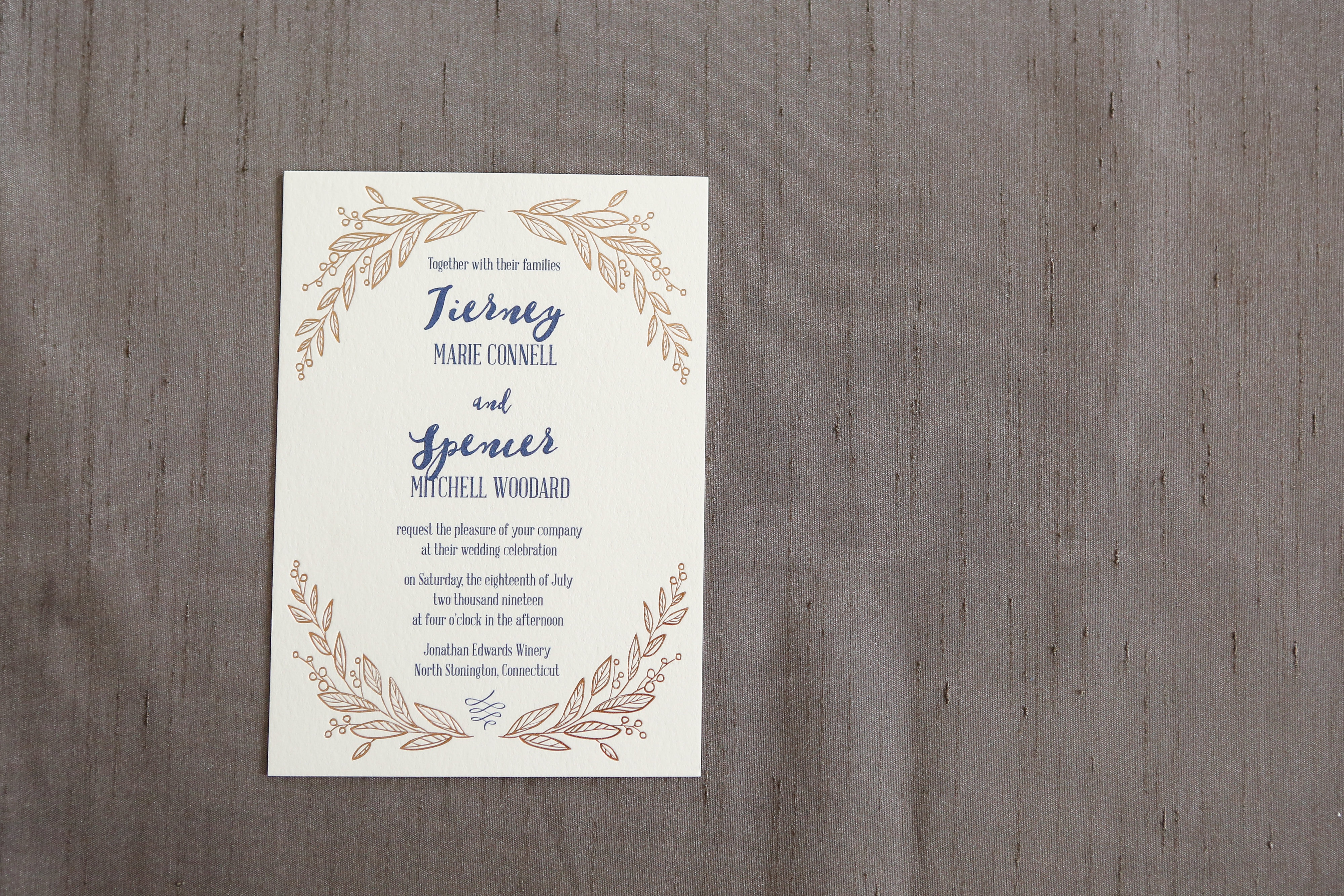 Copper foil is beautifully accented by navy blue on this fantastic design.