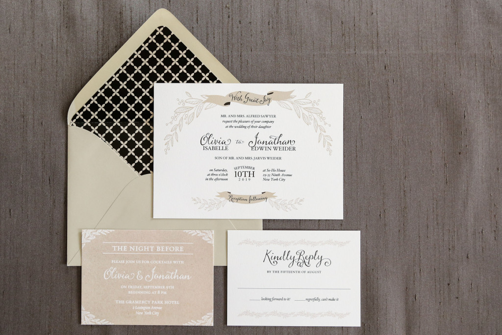 Lovely rustic wedding invitation features neutral colors of beige, white, and black.
