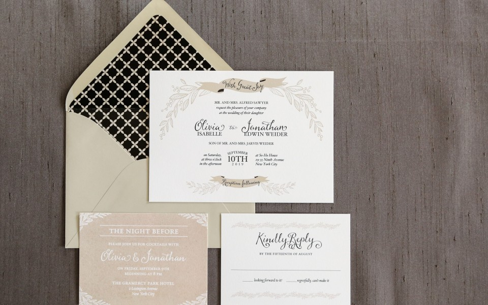 Neutral colors and a light, airy vine design are accented with fun, contemporary banners and a lovely geometric envelope liner.
