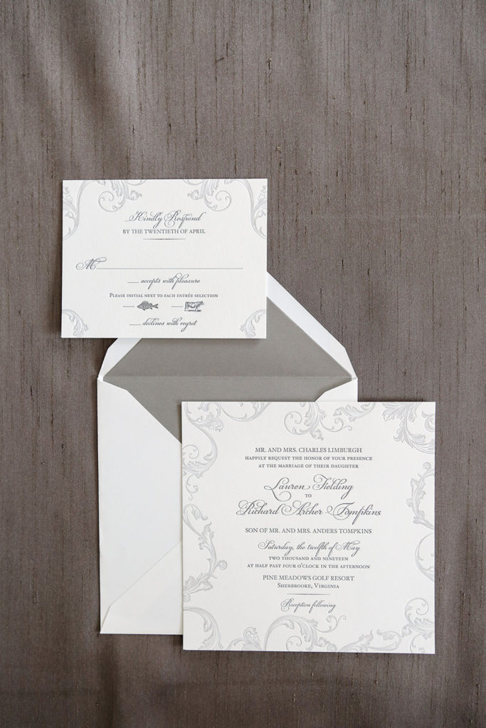 elegant and sophisticated 2-color letterpress wedding invitation.