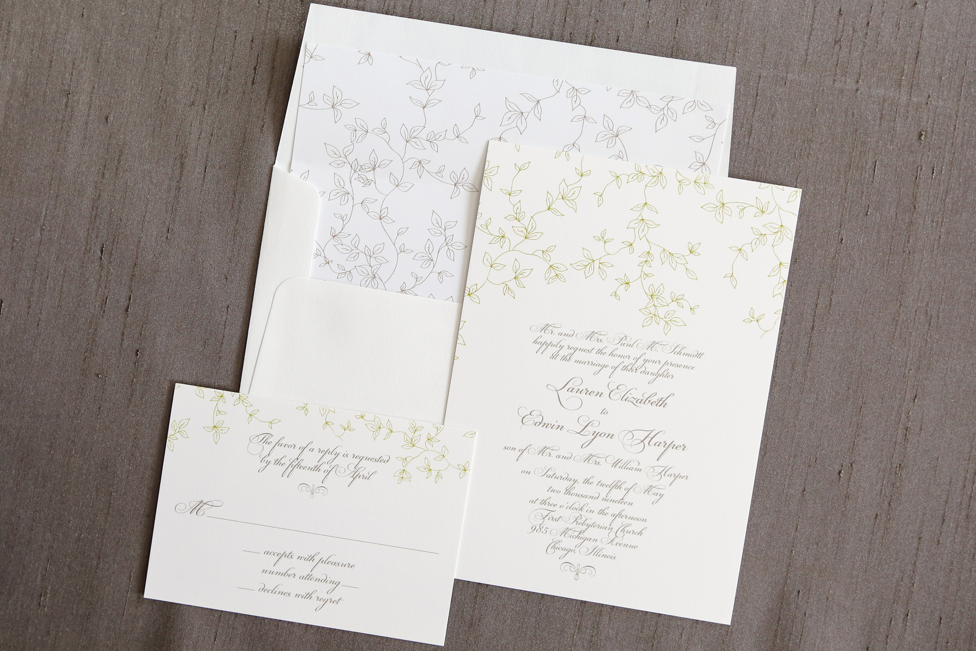 This 2-color thermography wedding invitation is delicate and ethereal.