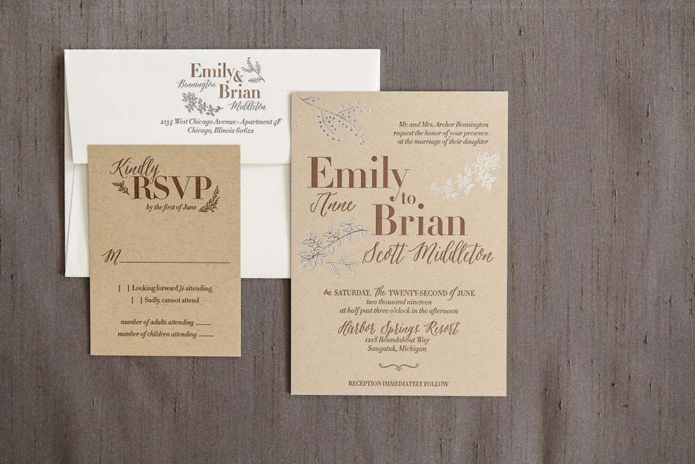 Foil and letterpress wedding invitation.