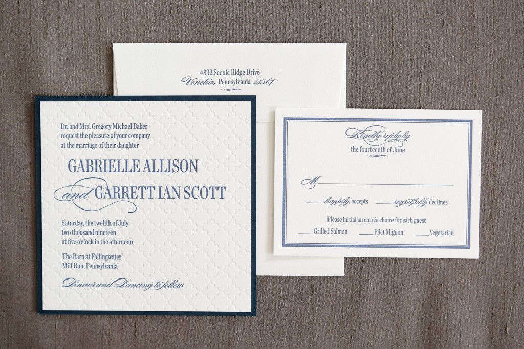 Beautiful Navy letterpress with blind embossing and a lovely navy backing layer.