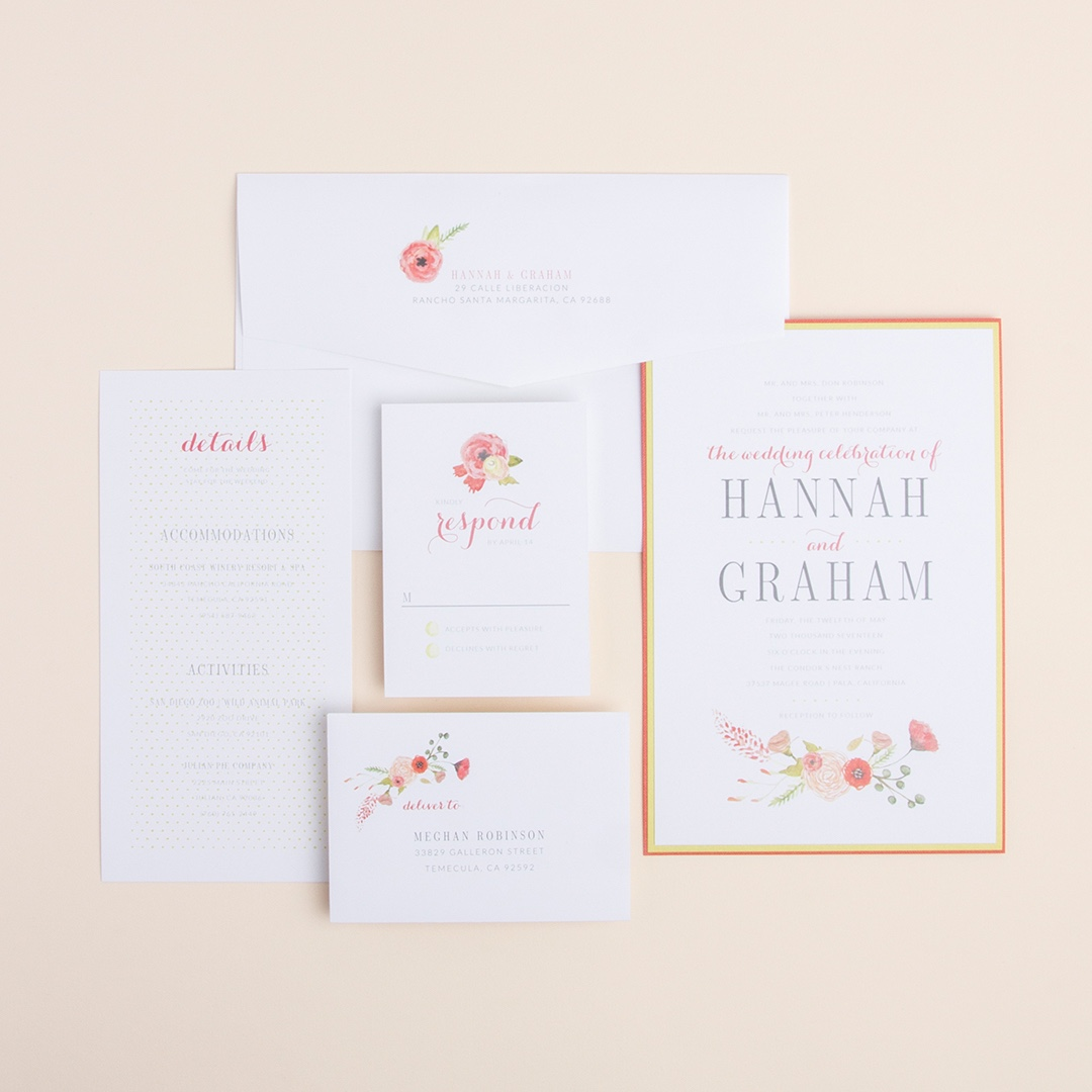 Sweet Bouquet layered wedding invitation by Envelopments features darling floral artwork and pretty pastel colors.
