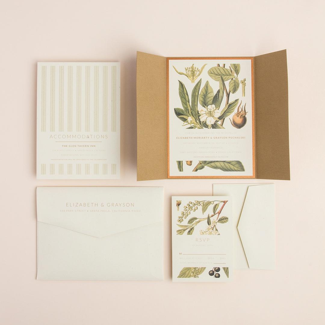 Botanical Illustration layered gatefold wedding invitation by Envelopments features vintage style illustrations of flora.