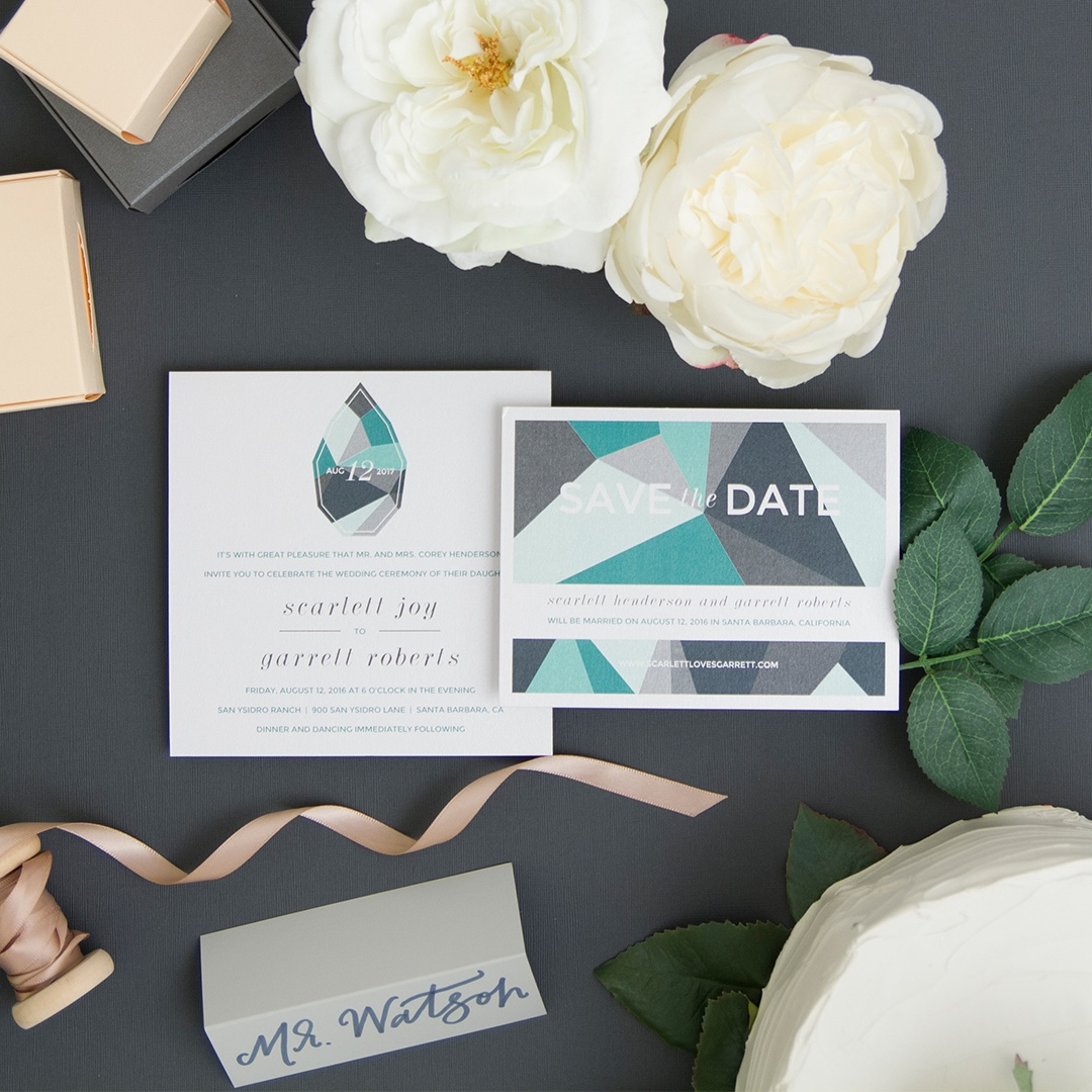Faceted Gem invitation by Envelopments is a beautiful take on this season's gem and crystal trend.  Bold colors and shapes are sure to be a hit!