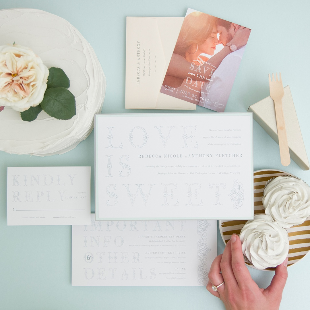 Love is Sweet layered wedding invitation by Envelopments is a lovely text-based design on a soft mint backing layer.
