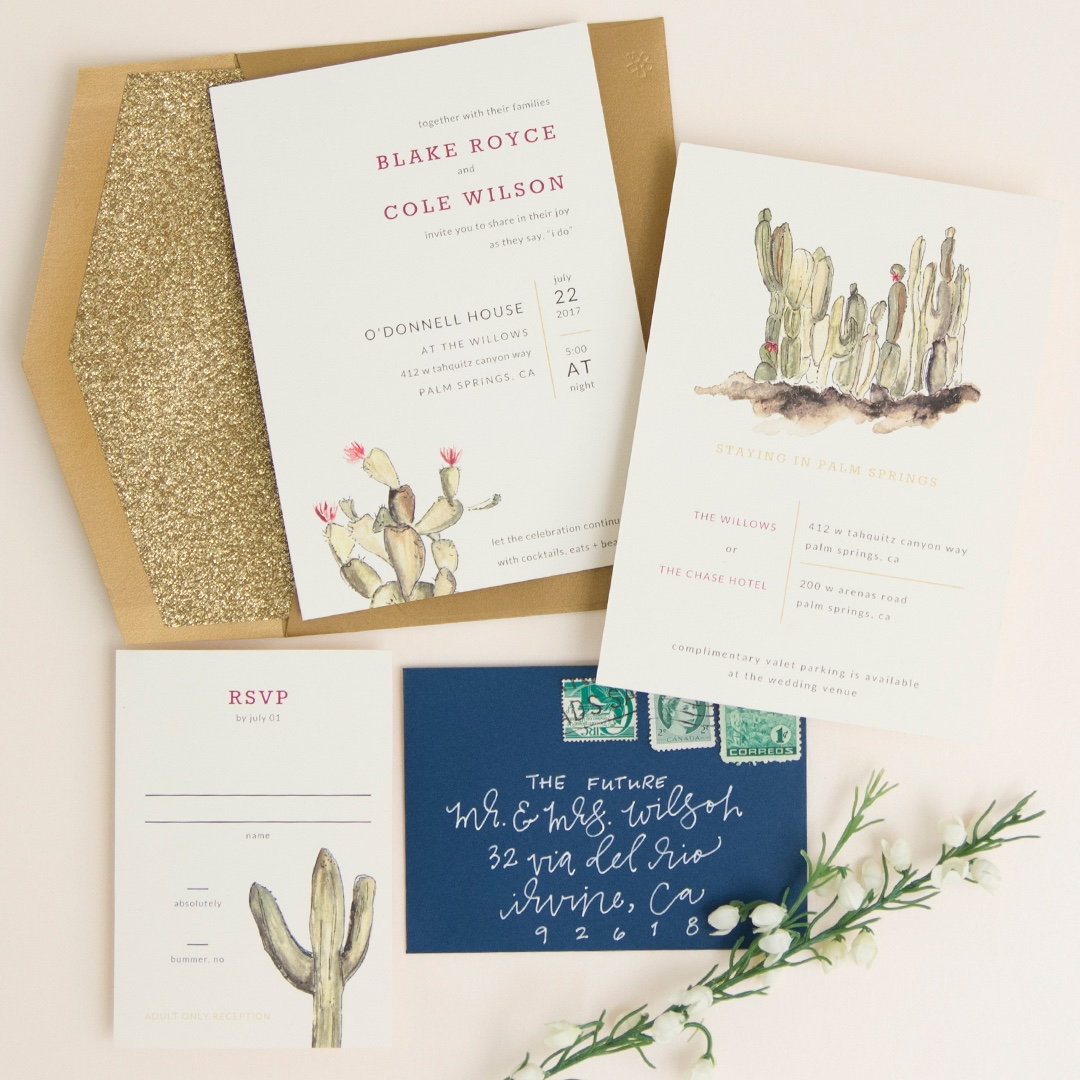 Desert Romance wedding invitation by Envelopments seamlessly blends natural rustic elements with formal glamour.  Glitter meets cactus!