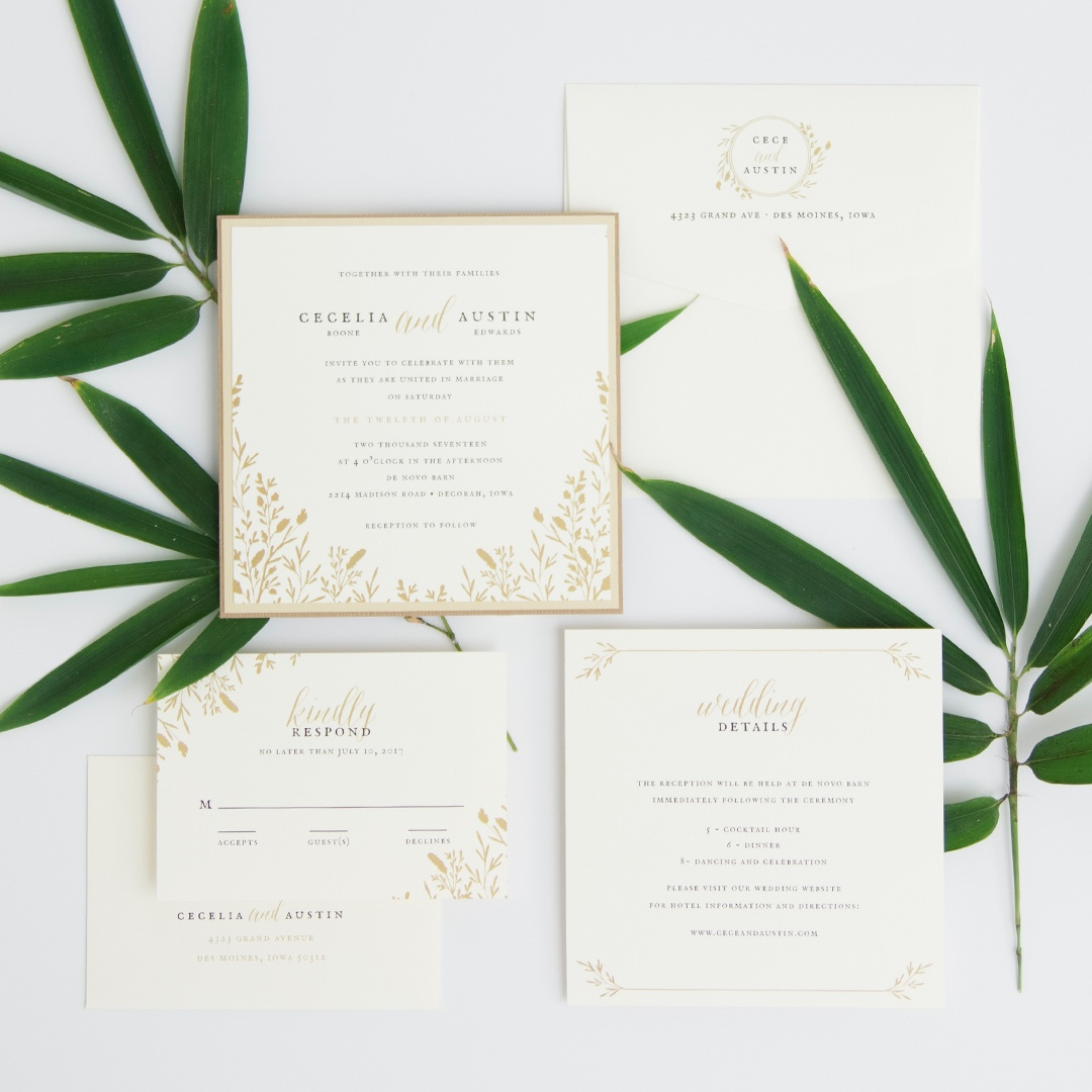 Wildflower layered wedding invitation by Envelopments features a soft floral border around beautifully set text on soft white stock.
