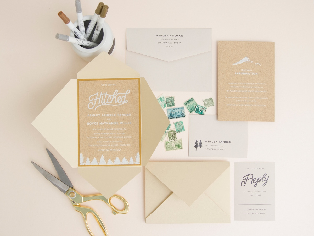 Hitched Wedding Invitation in a pointed 2-sided petal fold jacket by Envelopments.