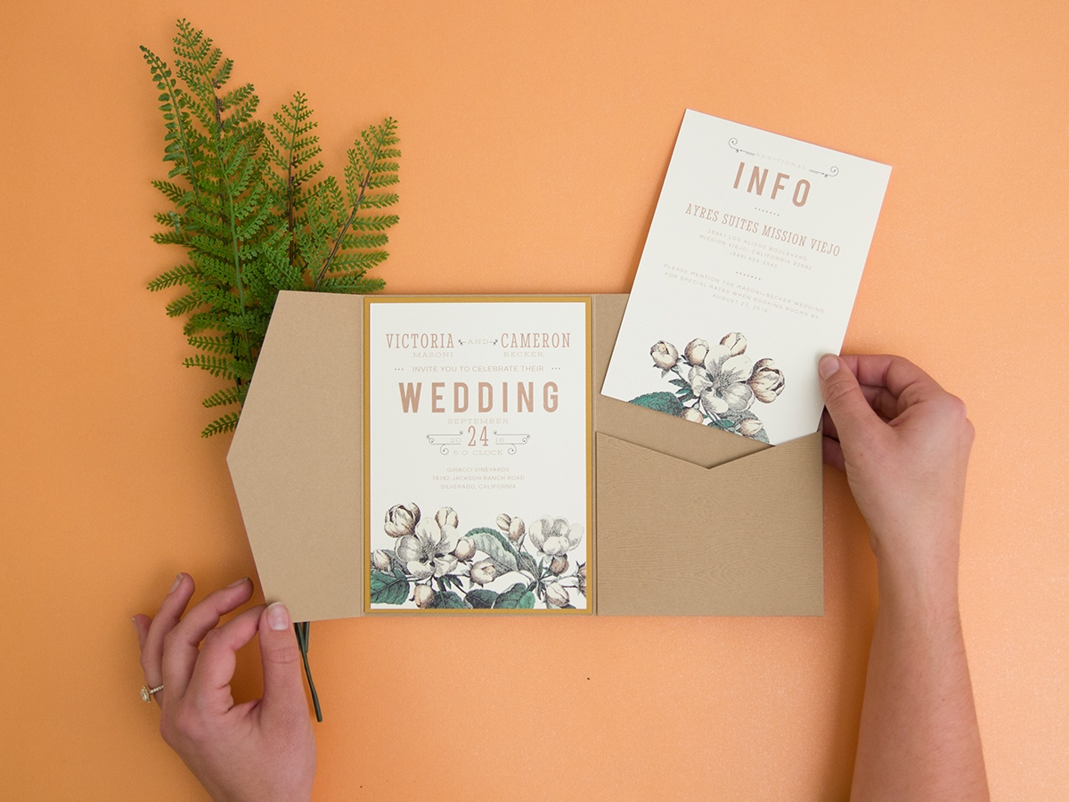 Perennial Blossom pocketful wedding invitation by Envelopments features a vintage floral sketch with a natural paper pocket.