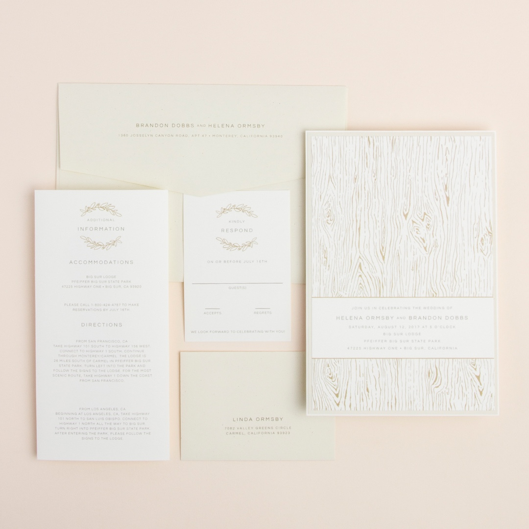 Wood Grain layered wedding invitation by Envelopments.