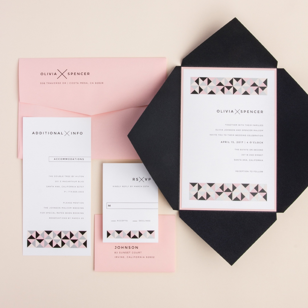 Simply Studded pointed flap ponchette wedding invitation by Envelopments features a kaleidoscope border to gracefully introduce your wedding colors.