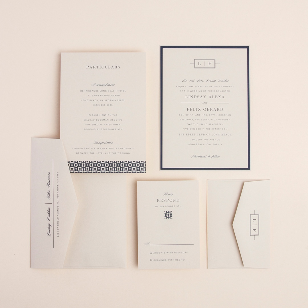 Perfect Type layered wedding invitation by Envelopments is makes a bold statement in an understated fashion.  A simple monogram adorns the top and mixed fonts are set your text perfectly.