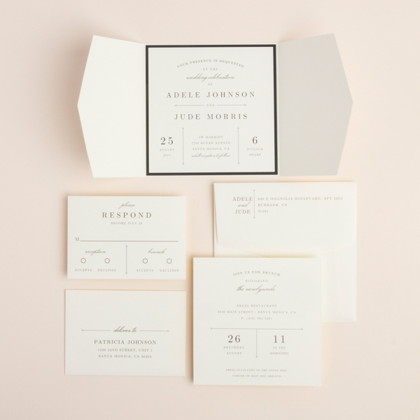 Sidecar contemporary wedding invitation by Envelopments features neutral colors and perfectly set text in an angled gate-fold jacket.