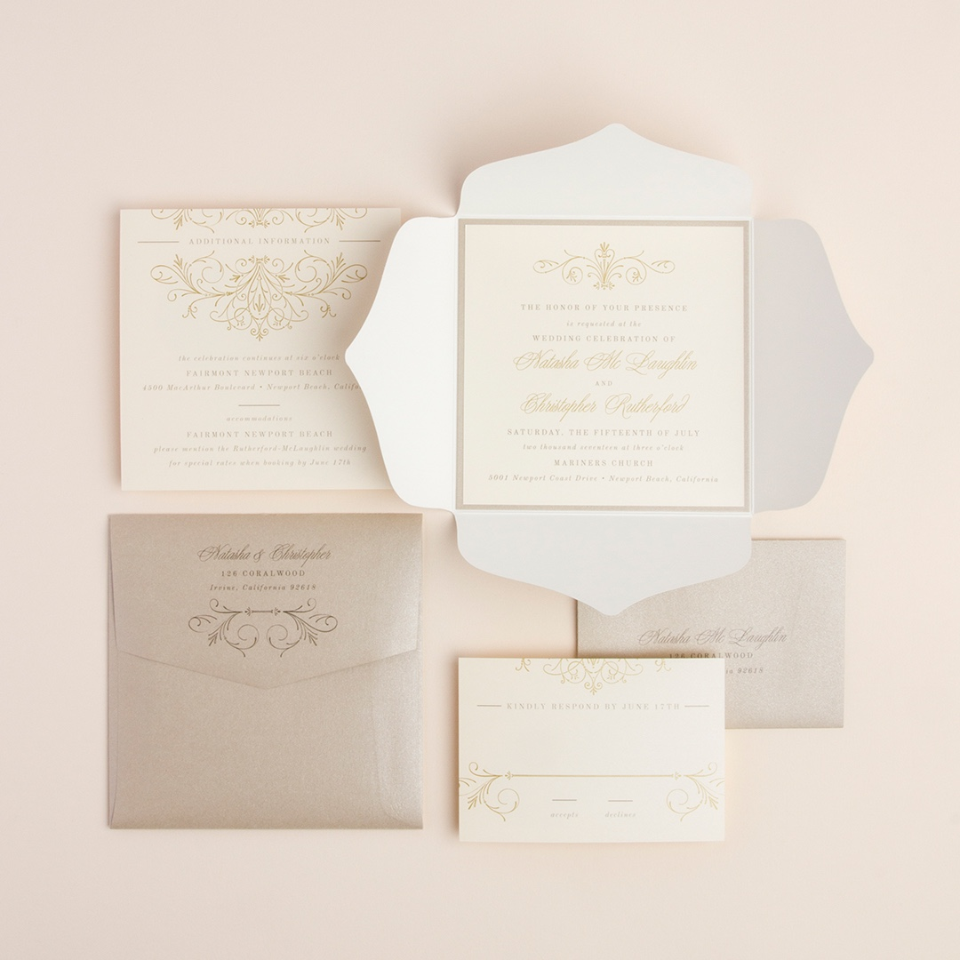 Hopeless Romantic Petal Fold Invitation by Envelopments features a lovely shaped quad-fold jacket with beautiful gold and cream accents.