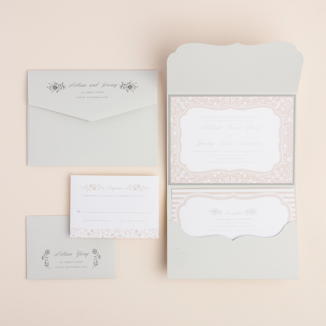 French Country Scalloped Pocketfold Invitation by Envelopments features a beautiful pale rose floral, subtle stripes, and pretty grey accents.
