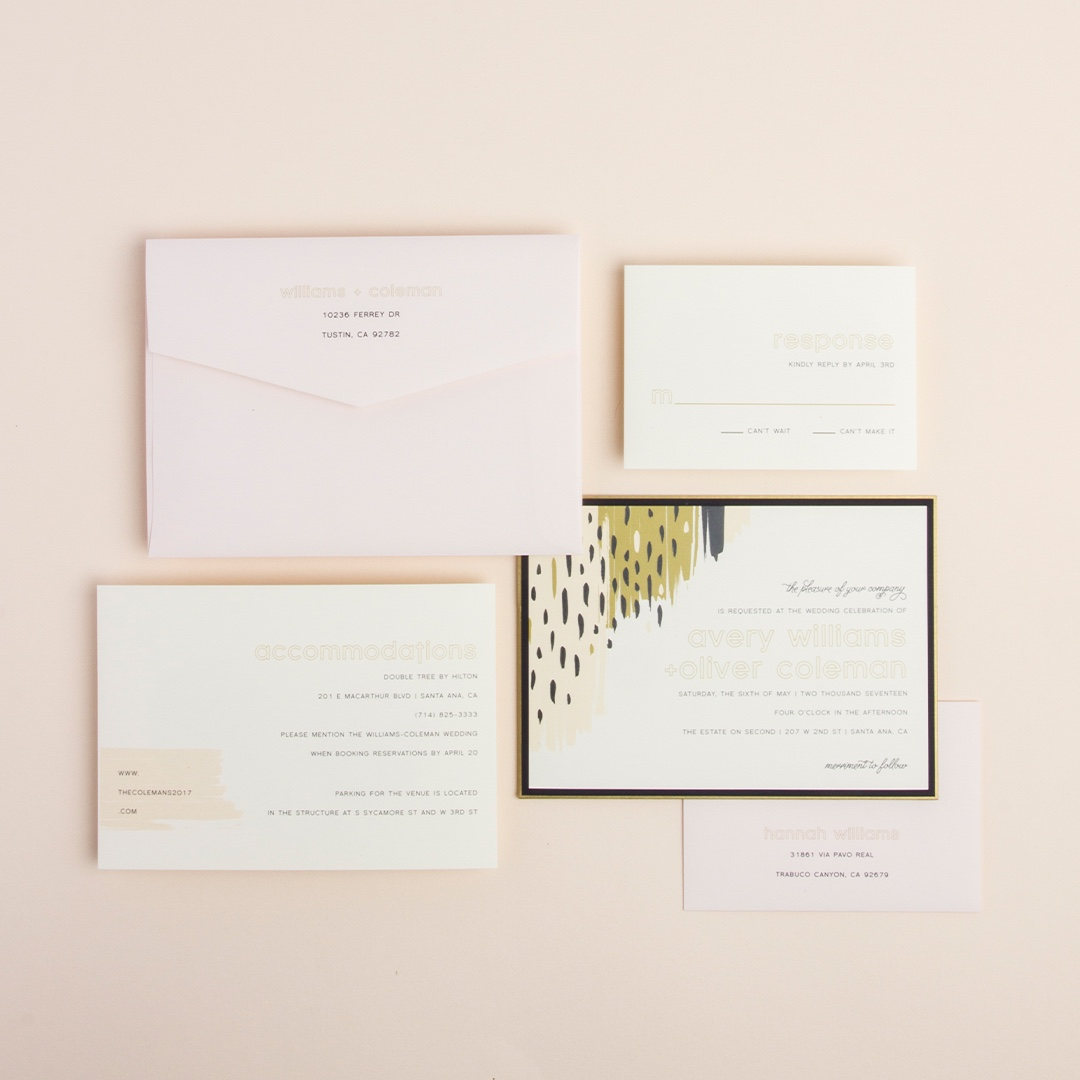 Color Theory layered wedding invitation by Envelopments features contemporary brush stroke artwork and 2 accent layers.