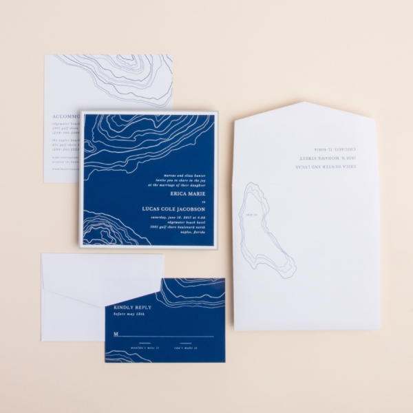 Island Hopper layered wedding invitations by Envelopments features geographical topographical outlines.