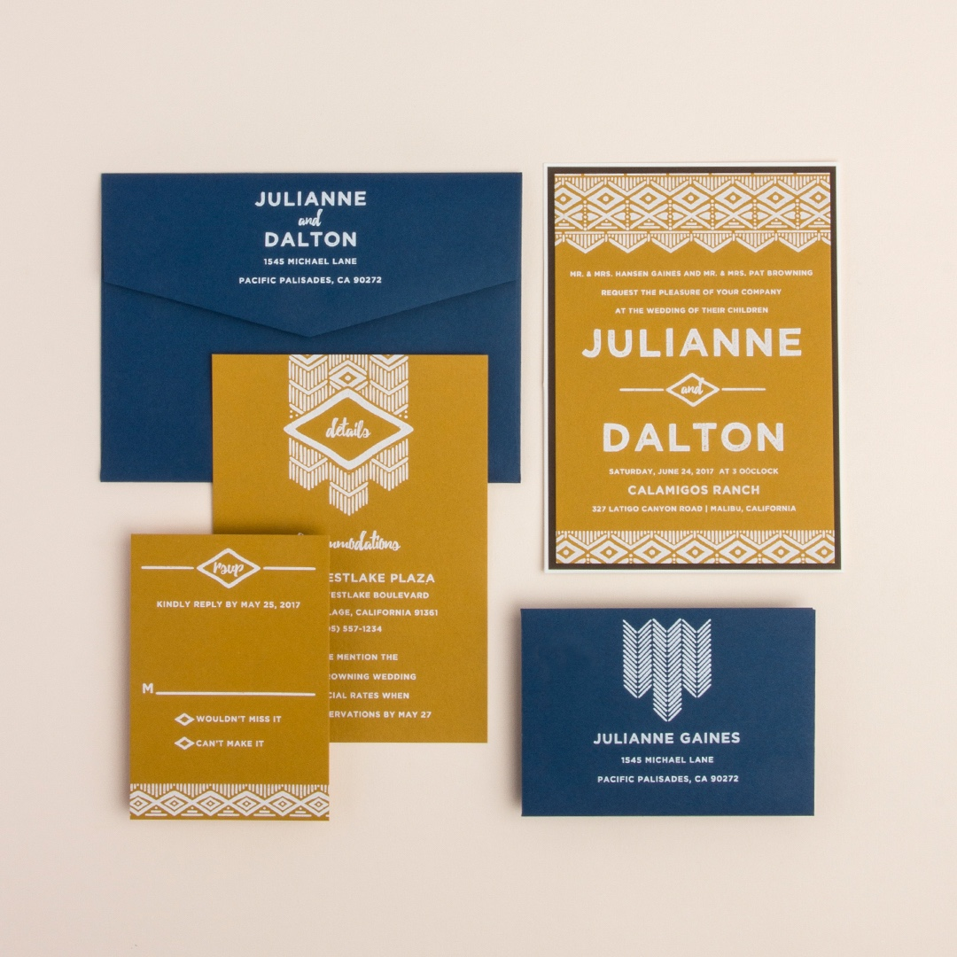 Native Print wedding invitation by Envelopments features navy and gold papers with white printing.