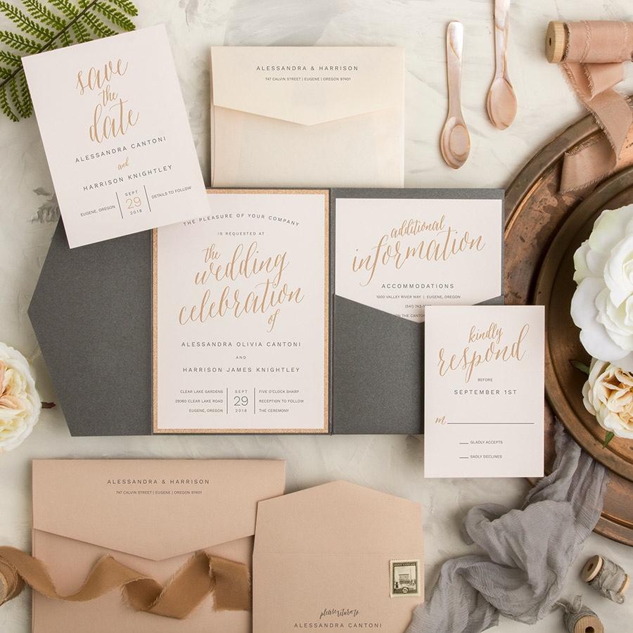 A Fine Affair pocketfold wedding invitation metallic gold ink