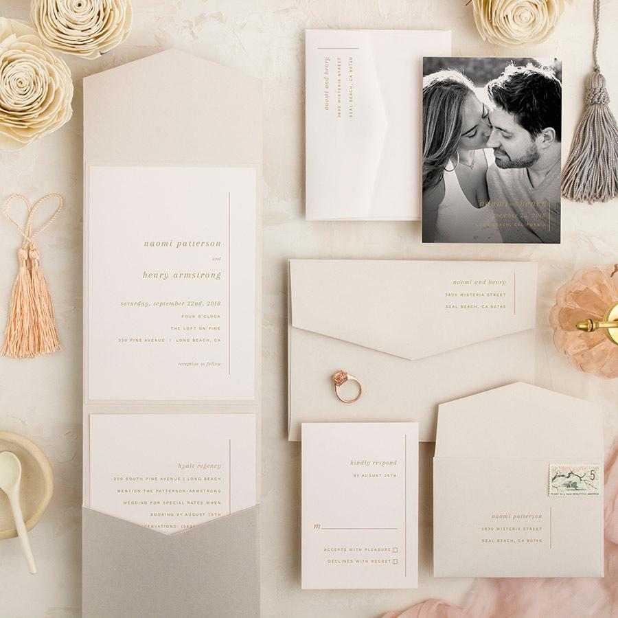Always Elegant wedding invitation pocketfold contemporary design.