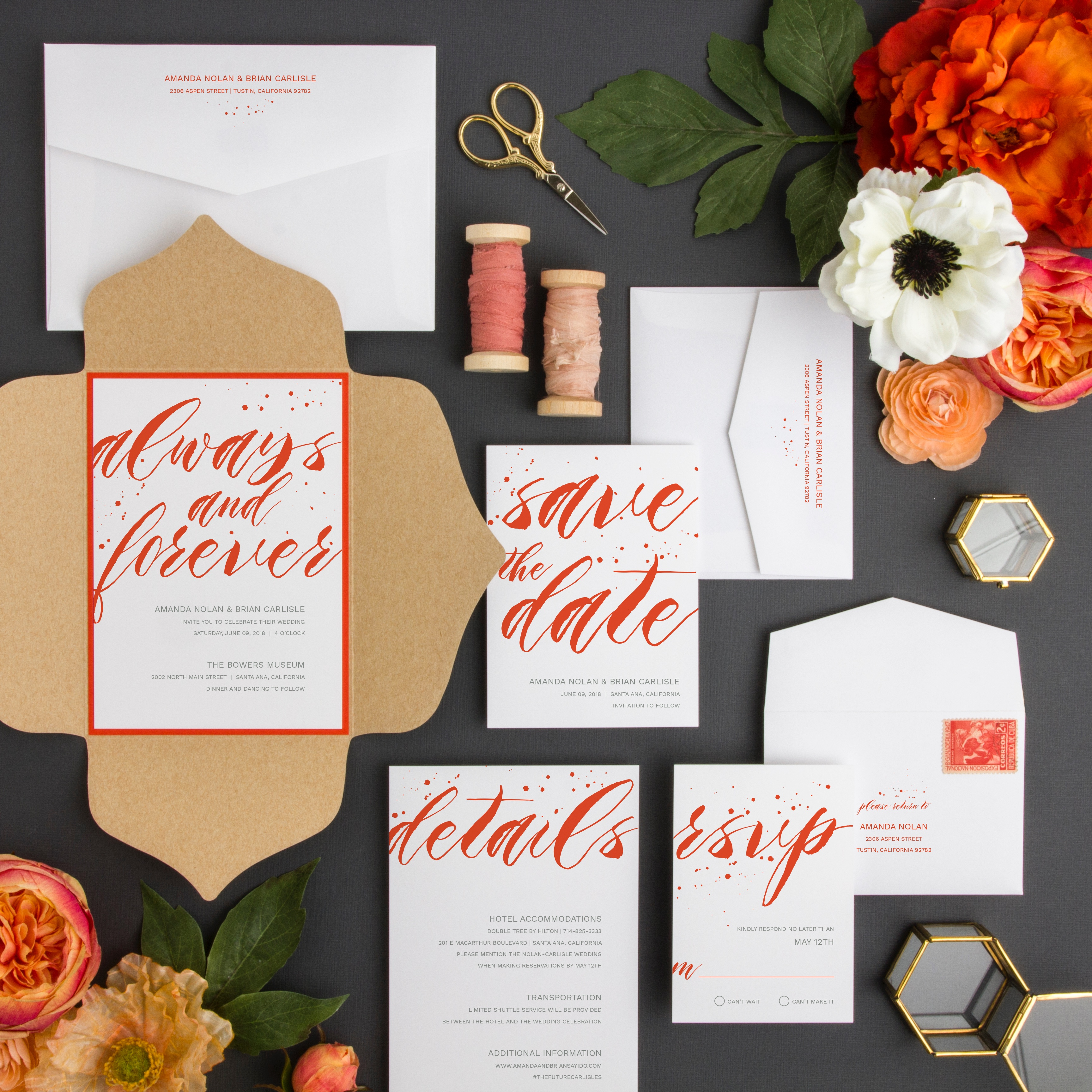 Always and Forever wedding invitation is a bold and dramatic introduction to your big day.  Featured here in a petal fold enclosure and bright orange.