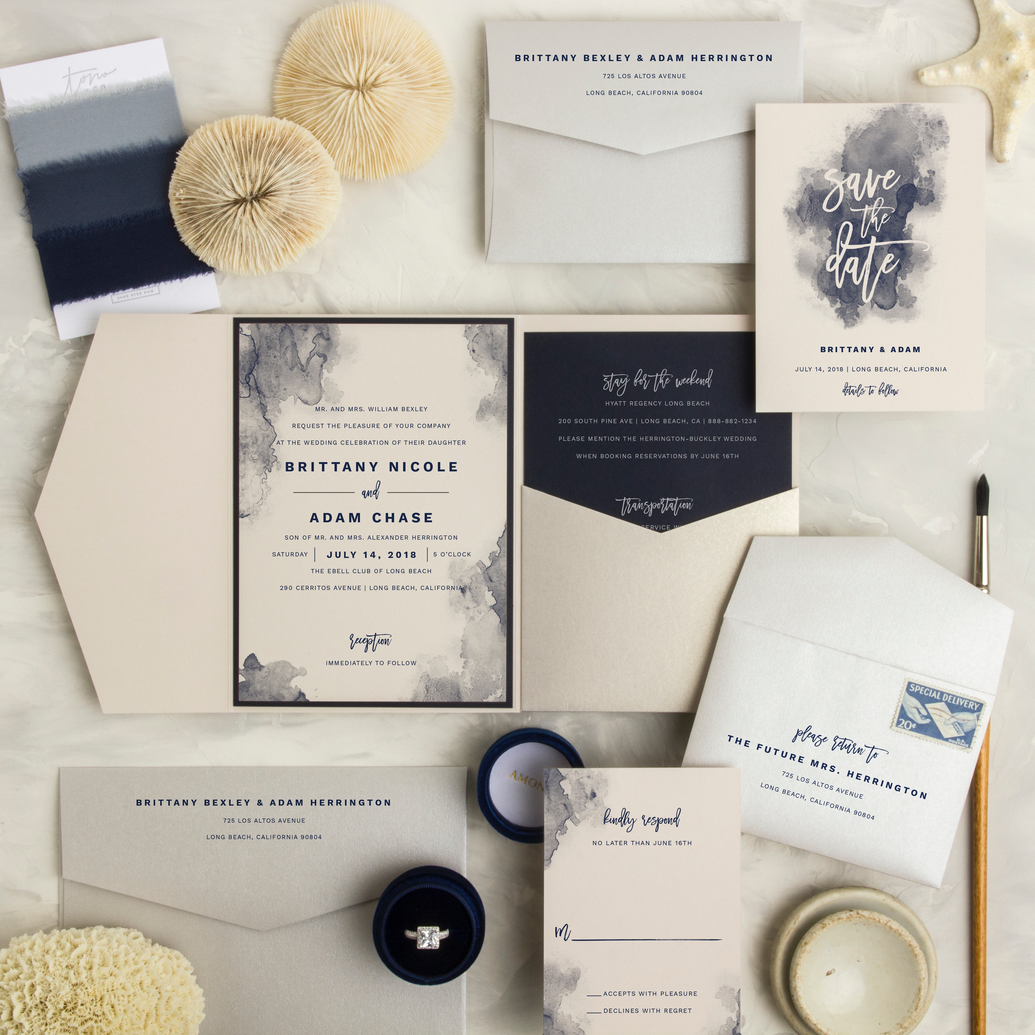Aquarelle Wedding Invitation features beautiful blots of watercolor.  A dramatic invitation in navy and cream.