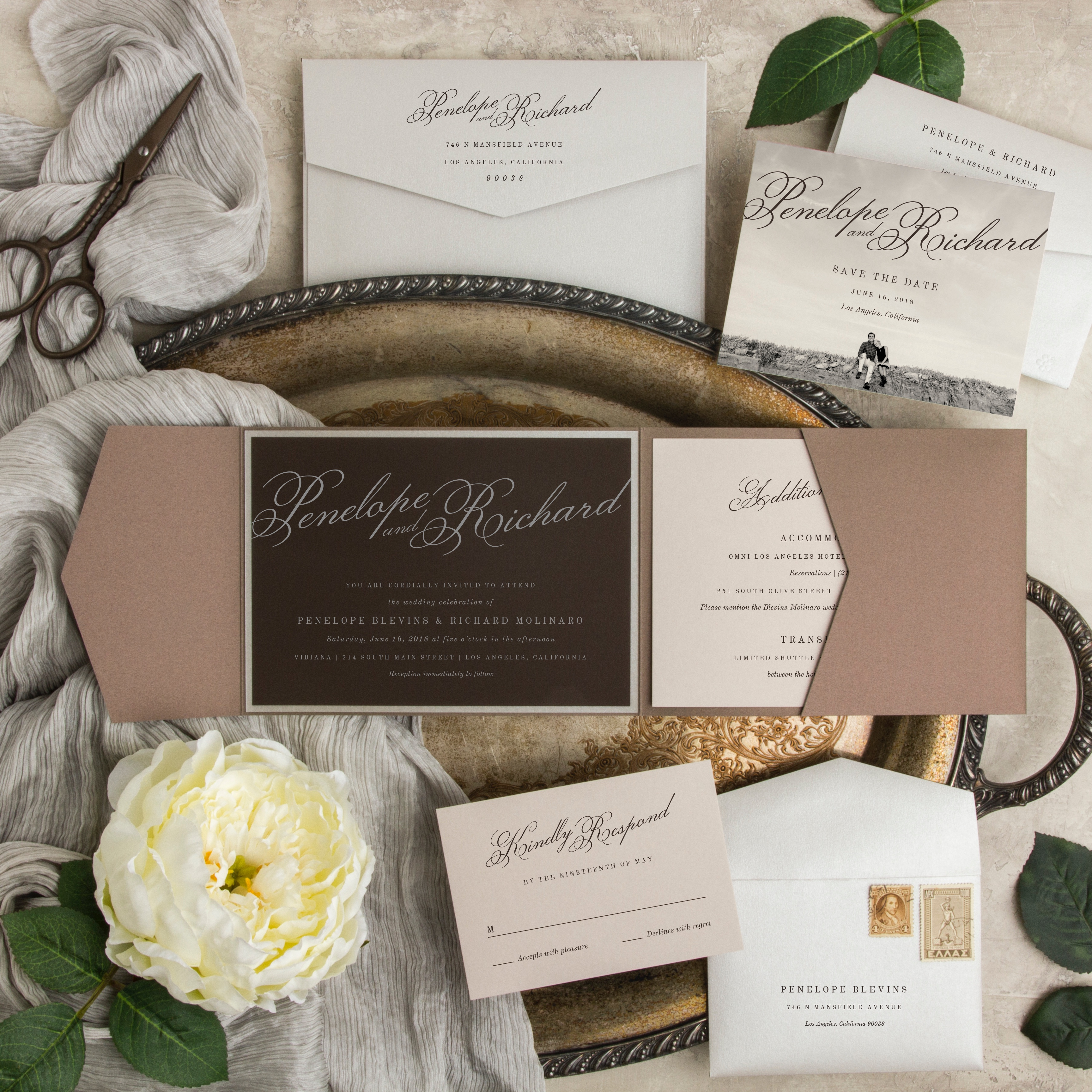 Big Night Pocketfold Wedding Invitation features a beautiful script and rich, bold neutral colors.