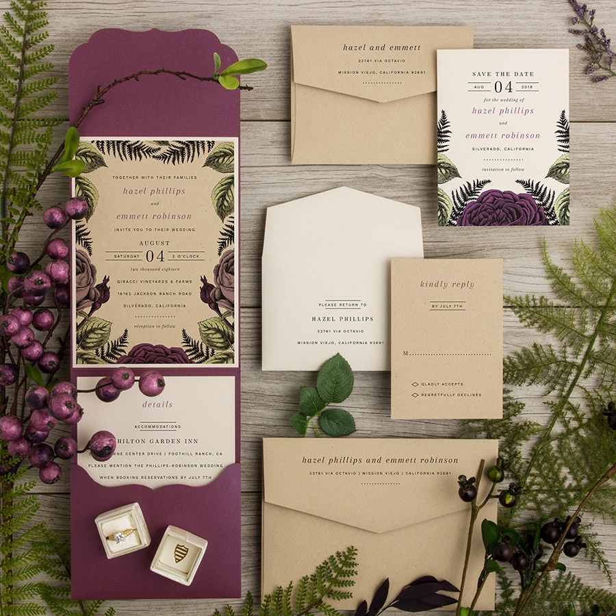 Fernville botanical pocketfold wedding invitation in berry and kraft.