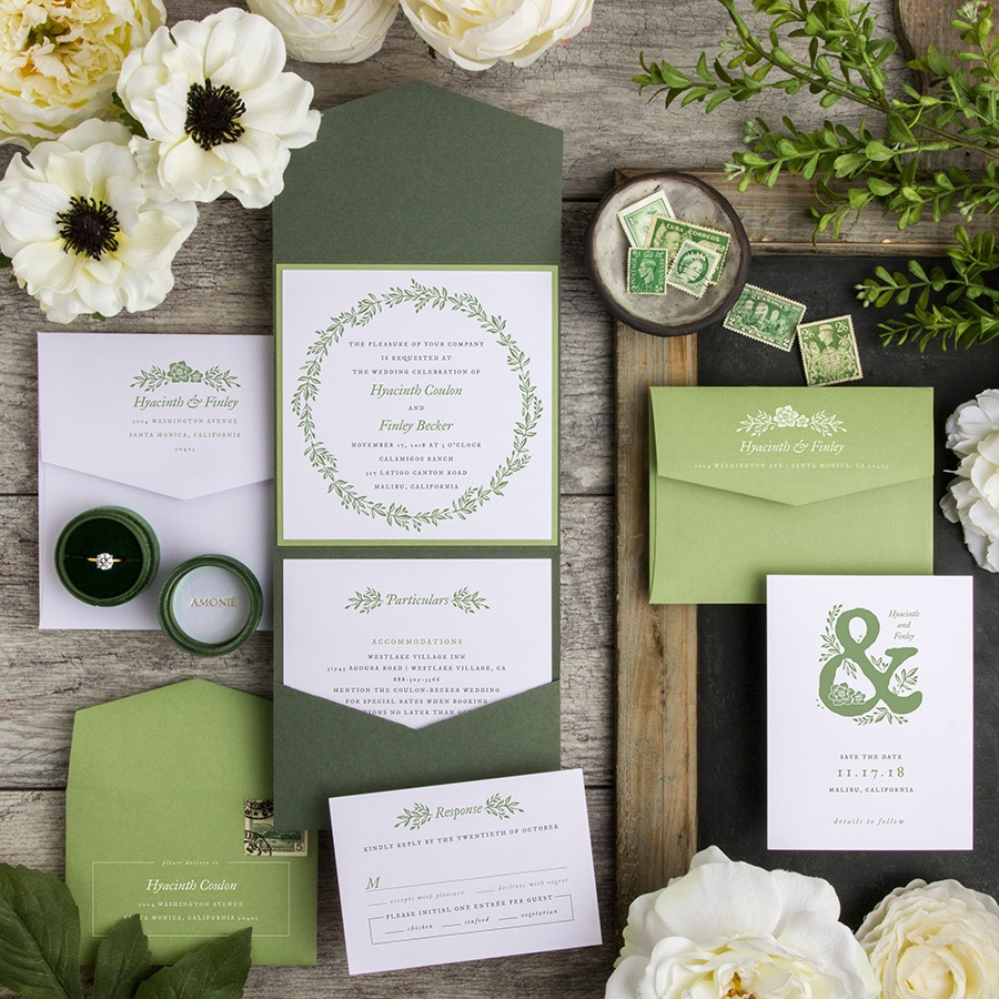 Gorgeous Wreath contemporary pocketfold wedding invitation in shades of green.