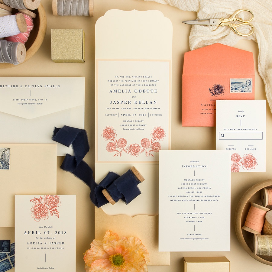 Love is Blooming scalloped pocketfold wedding invitation with artistic flowers in cream, navy, and peach.