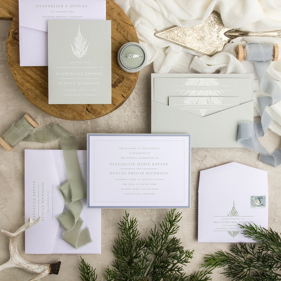 Marry Me Under the Tree contemporary layered wedding invitation in sage, periwinkle, and white
