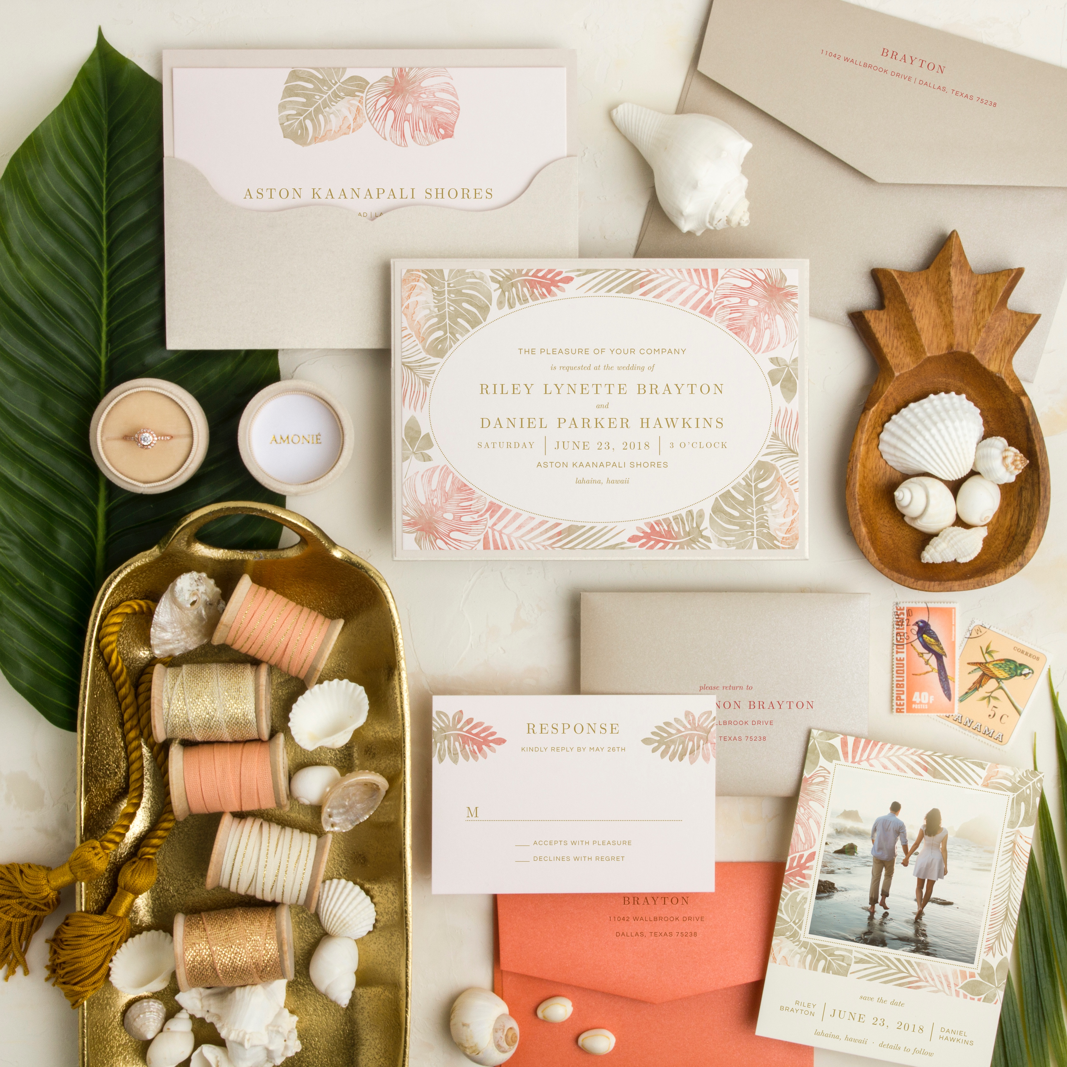 Paradise Island Layered Wedding Invitation features coral and khaki palm leaves.  Perfect for your tropical wedding or destination wedding!