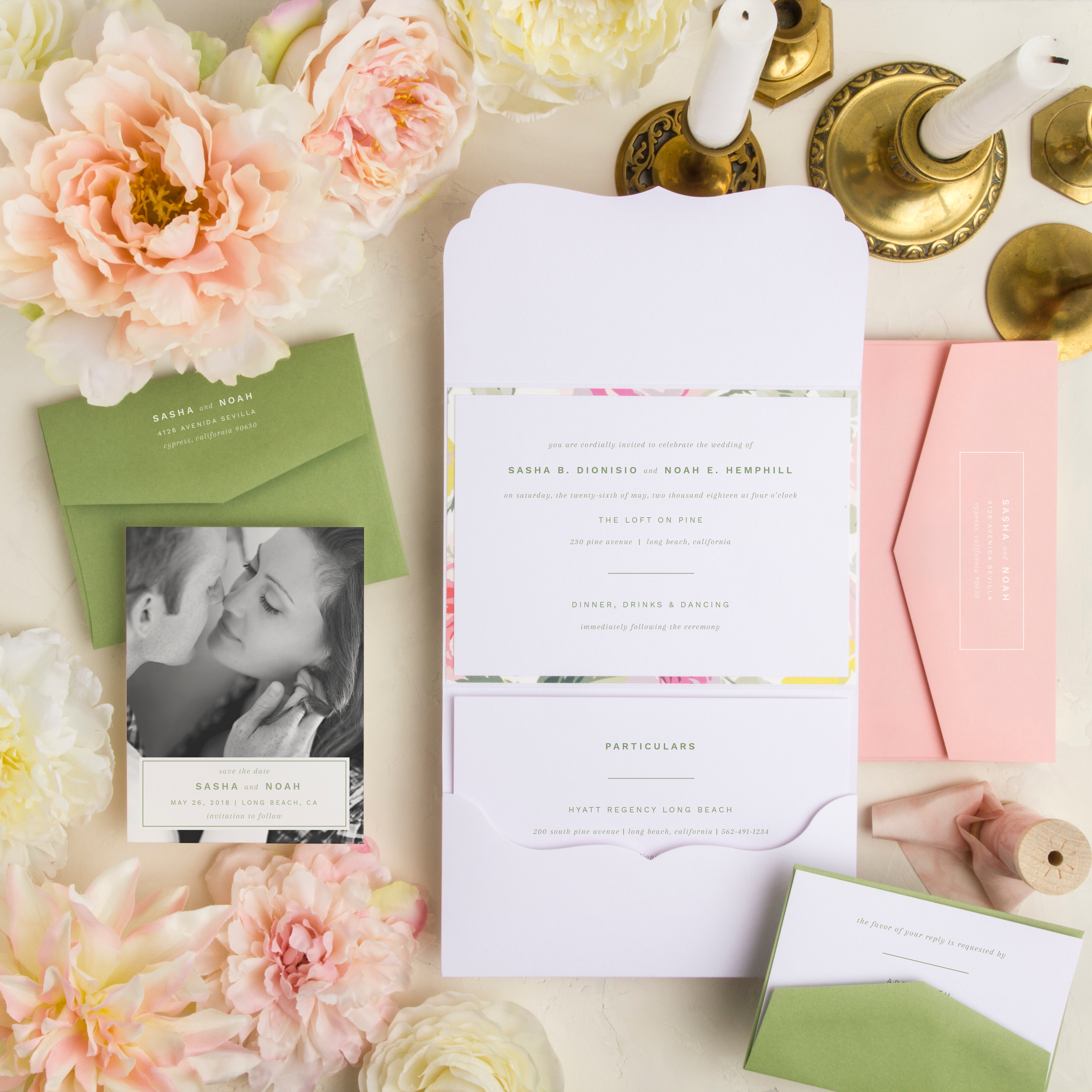 Particularly Fine pocketfold wedding invitation is just the right amount of colorful with bright citrus green and pops of peach and yellow.