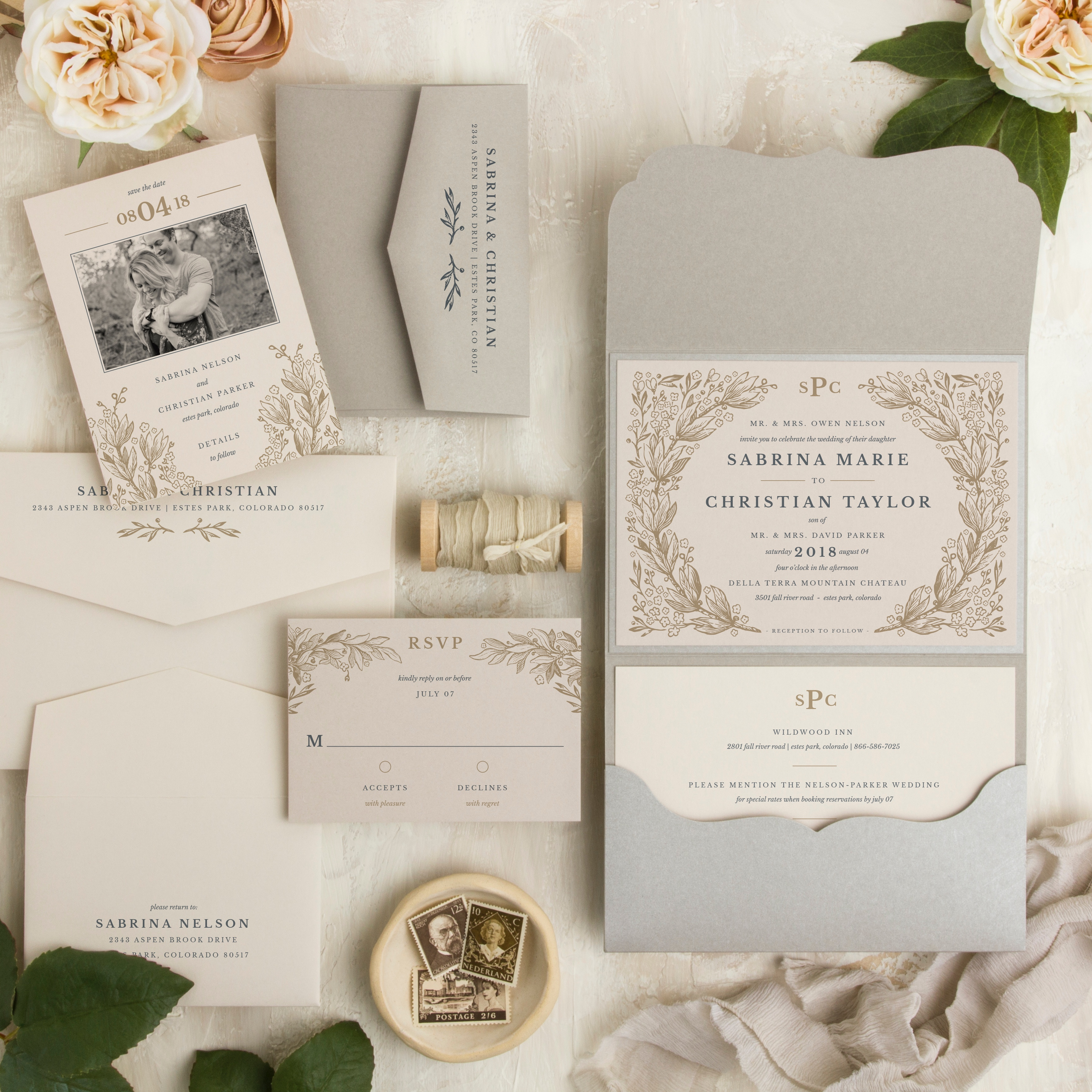 Secret Garden wedding invitation suite was inspired by vintage foliage and is featured in a metallic scalloped pocketfold.