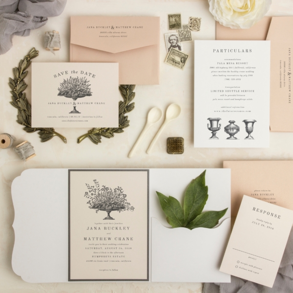 Test of Time pocketfold wedding invitation is vintage botanical inspired and shines bright with a neutral color pallet