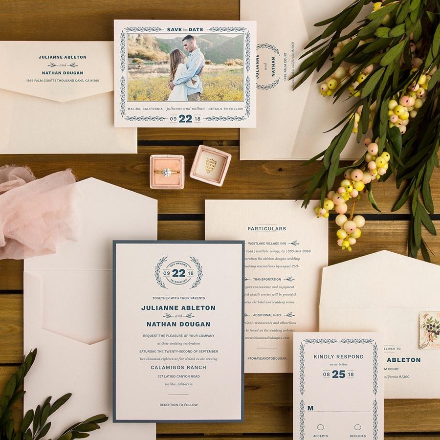 Vineyard Romance contemporary layered wedding invitation with vine embellishments